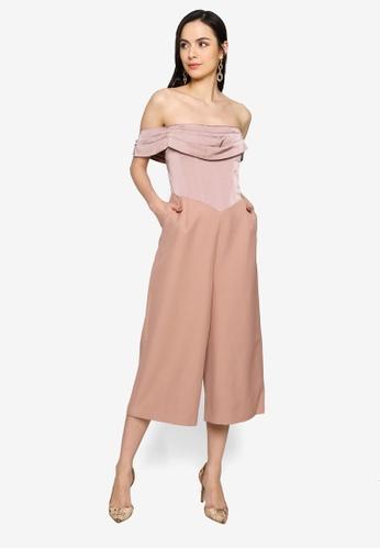 Lavish Alice pink Pleated Bardot Satin Mix Culotte Jumpsuit CBEC5AA32F1D27GS_1