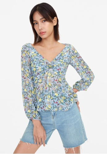 Pomelo blue Front Knot Floral Flared Blouse - Blue 71CFFAA342CE65GS_1