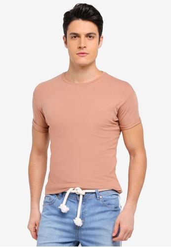 Topman 褐色 修身素色短袖T恤 0BC0BAA51302A1GS_1