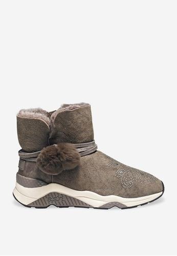 ASH 米褐色 Marika - 米灰色鉚釘刺繡靴 A37ECSH793F305GS_1