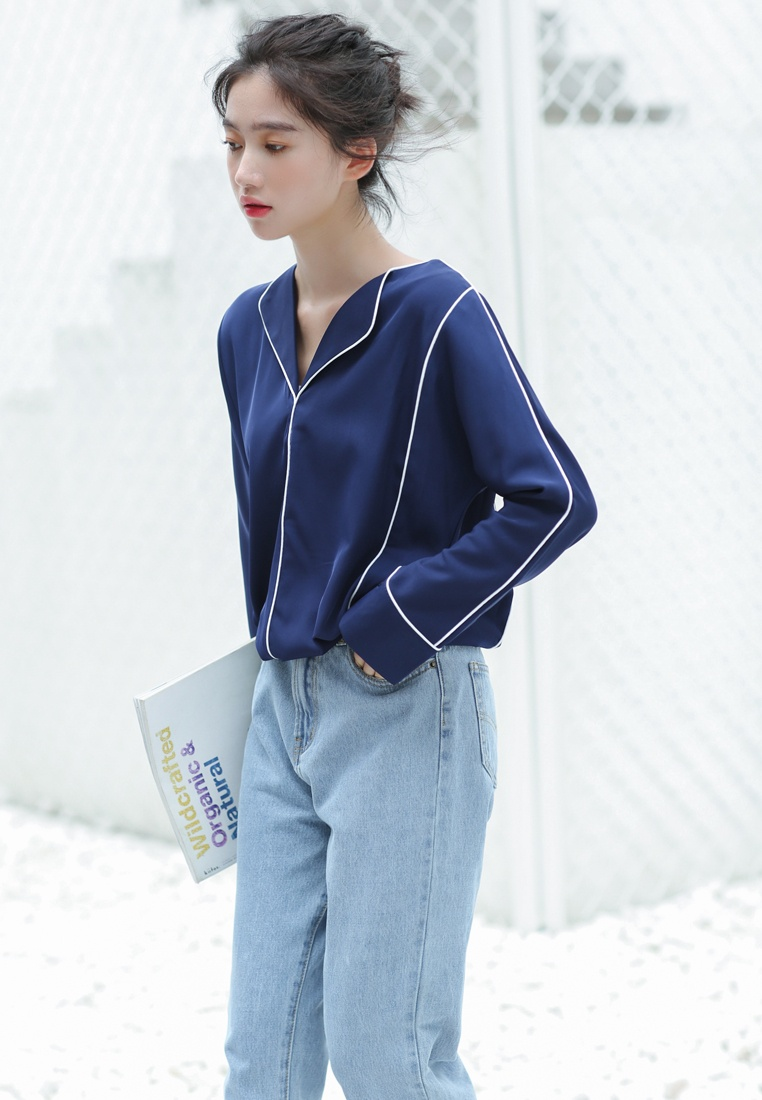 Shopsfashion Shirt in Blue Loose Bordered Blue Fit Tg1cTpra