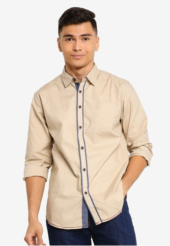 Fidelio 褐色 休閒長袖襯衫 2AF39AA43341A7GS_1