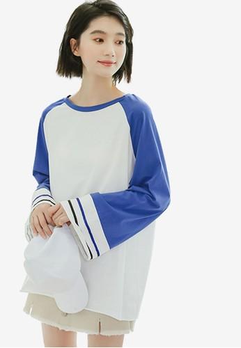 Shopsfashion white and blue Flare Tee EB3A0AA6FA2213GS_1