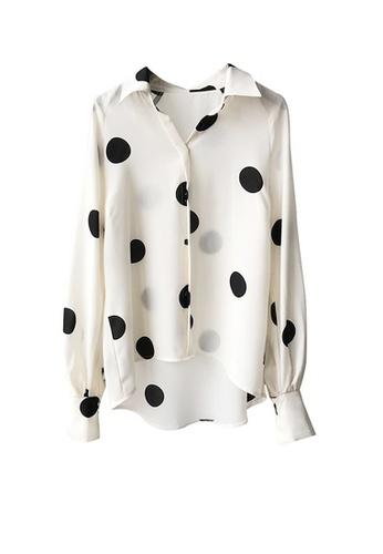 Twenty Eight Shoes white VANSA Polka Dots Print Long Sleeve Shirts  VCW-Sh3023 33516AA25FA43CGS_1