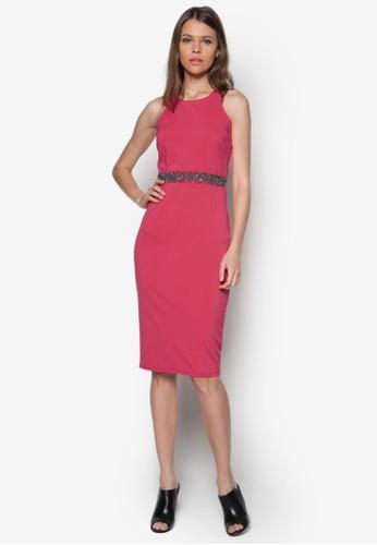 Little Mistress pink Embellished Waist Dress LI763AA51DQMSG_1