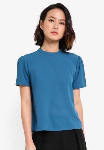ZALORA green Essential High Collar Short Sleeve Top 658B7AAFA48468GS_1