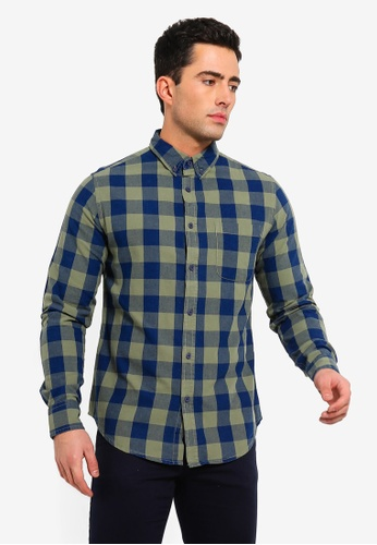 OVS 藍色 休閒格紋襯衫 In 棉 E39C3AA5D7A81CGS_1