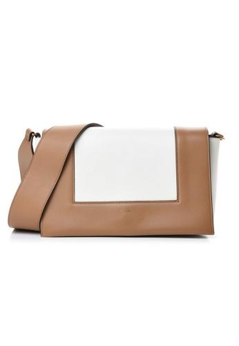 CELINE white Celine Frame Medium Crossbody Bag in White,Brown 9FACAACA196499GS_1