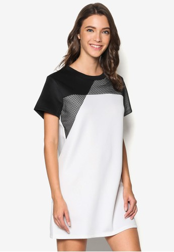 Mesh Pieceesprit 澳門d T-Shirt Dress, 服飾, 洋裝