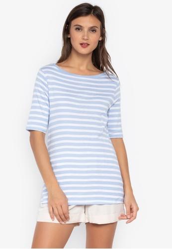 MARKS & SPENCER blue Pure Cotton Striped Half Sleeve T-Shirt CF8E7AA6A5D748GS_1