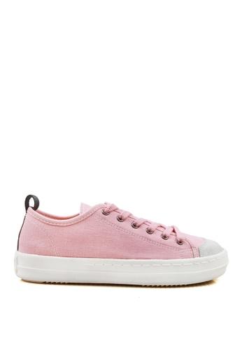 J.DAUL 粉紅色 經典厚底真皮帆布休閒鞋 JD556SH09Q5XTW_1