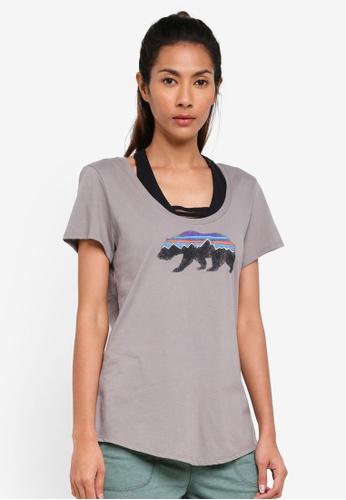 Patagonia grey Fitz Roy Bear Organic Scoop T-Shirt PA549AA0SVNKMY_1