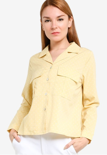 ZALORA yellow Pocket Detail Long Sleeves Shirt C089CAAFD23046GS_1