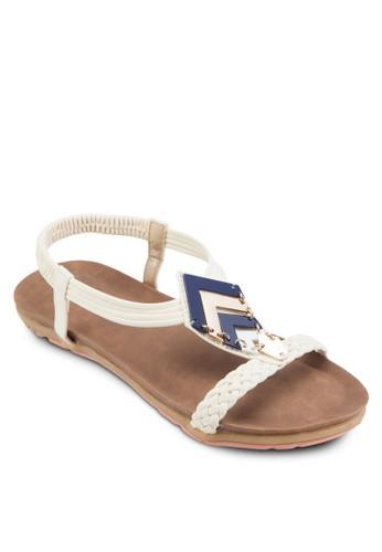 金飾編織繞踝涼鞋, 女鞋esprit 童裝, 鞋