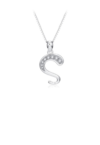 Glamorousky white 925 Sterling Silver Simple Personality English Alphabet S Pendant with Cubic Zirconia and Necklace 3241EAC78441FDGS_1