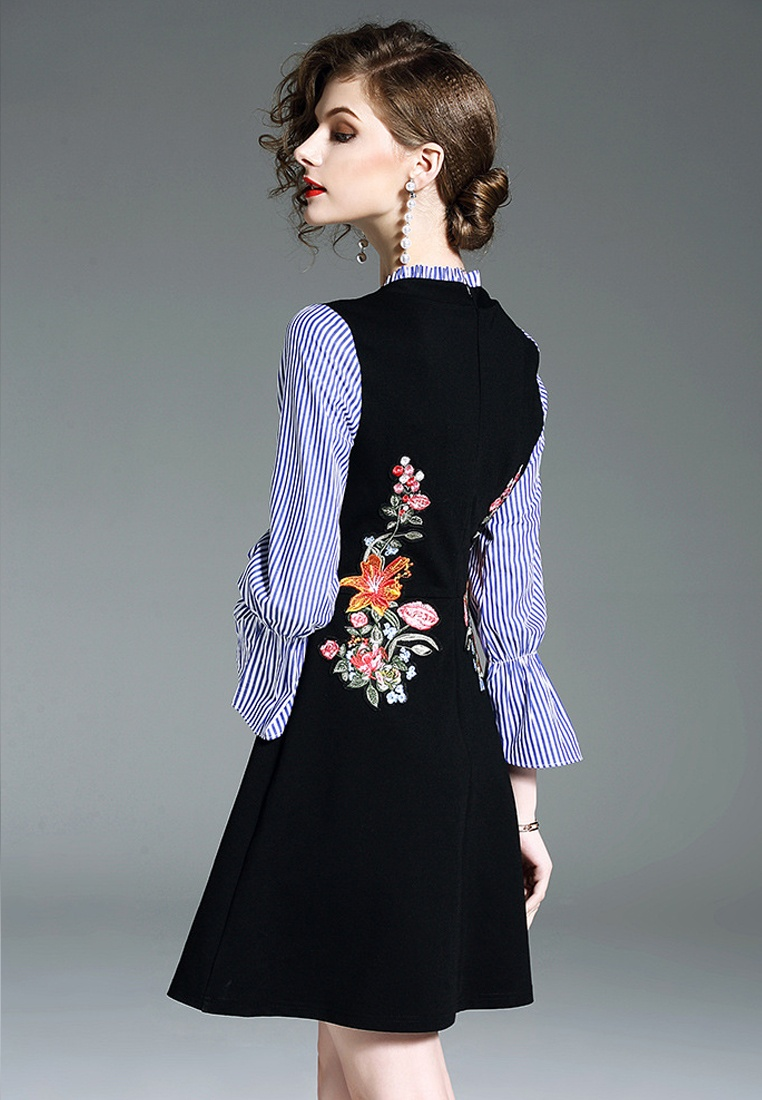 Piece Flare Sunnydaysweety 2018 CA043039 One Black New Sleeve Embroidery Dress Black cY1zw17Eqr