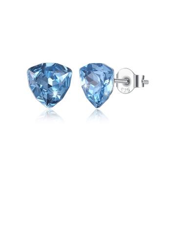 Glamorousky blue 925 Sterling Silver Simple Geometric Triangle Blue Austrian Element Crystal Stud Earrings 96FC7AC89CDEDAGS_1