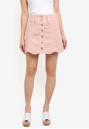 Something Borrowed pink Garment Dyed Scallop Hem Mini Skirt 705E7ZZ368A2DFGS_1