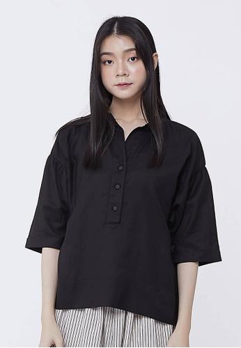 so that's me black Helen Linen Cotton Wide Shirt Top Black B485EAA285219DGS_1