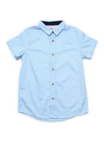 Mini Moley blue Sprinkle Print Boy's Short Sleeve Shirt B81EFKA3EB7FA2GS_1