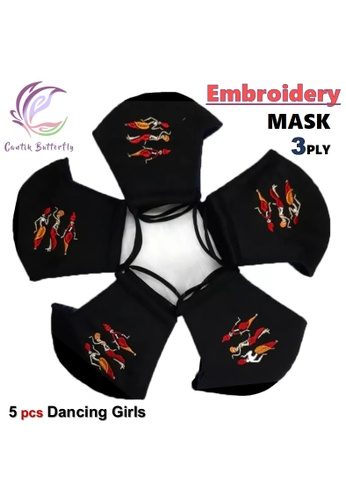 Cantik Butterfly black Embroidery Mask 3Ply Reuseable Washable Face Mask Non Surgical Mask (Dancing Girls) Set of 5 D89A1ESD4F97C8GS_1