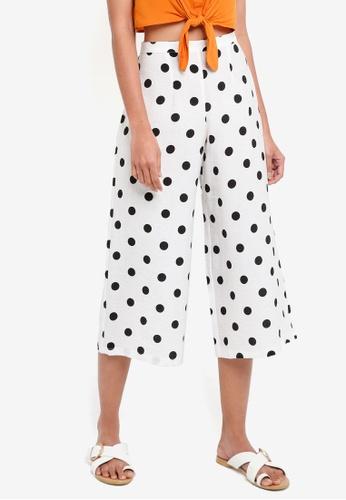 TOPSHOP white Petite Polka Dot Crop Wide Trousers EA107AA143192EGS_1