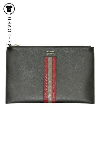 PRADA black Pre-Loved prada Saffiano Leather Zip Pouch E9AB4ACA8FB8DAGS_1