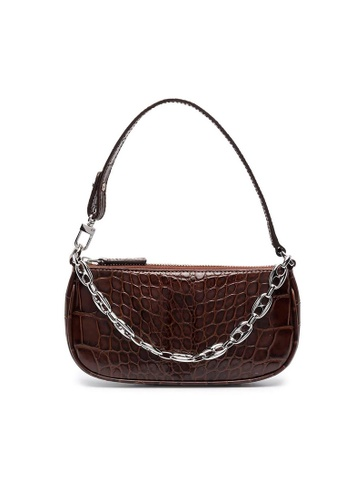 By Far brown By Far Mini Rachel Croco Embossed Leather Crossbody Bag in Nutella B96FBACB71D0A0GS_1