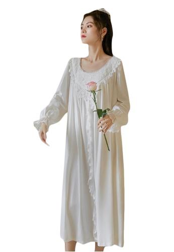 LYCKA white LML1314-Lady One Piece Long Sleeve Lace Sleepwear-White 073E2AA367BE37GS_1