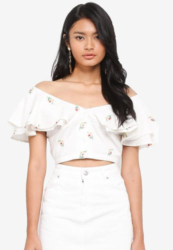 be6b075dd5697 Buy TOPSHOP Embroidered Frill Bardot Online on ZALORA Singapore