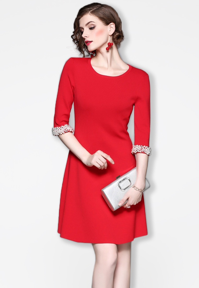 One Sunnydaysweety F W Red Piece 2017 Red Sleeves Mid Dress A083136R HCXqnqSzxw