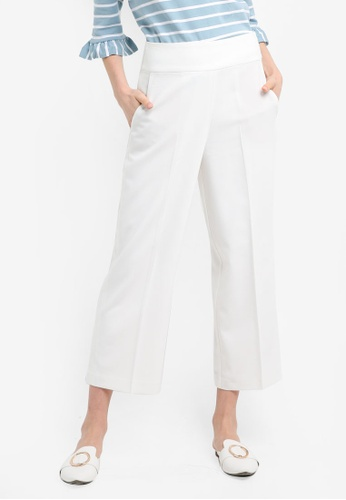 ESPRIT white Woven Cropped Pants F2447AAE684036GS_1