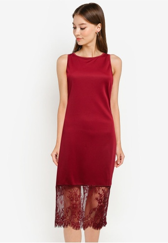 ZALORA OCCASION red Lace Panel Dress A2281AAA80A9C5GS_1
