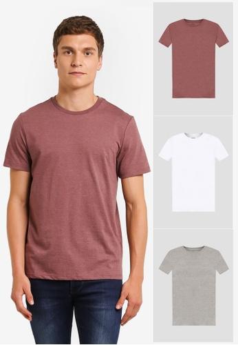 Burton Menswear London multi White/Grey/Berry Basic T-Shirts Pack BU964AA0ROB3MY_1