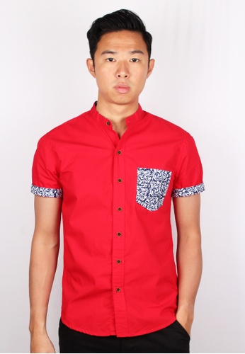 Moley red Tribal Pocket Mandarin Collar Short Sleeve Shirt 23EB8AABC0E93EGS_1