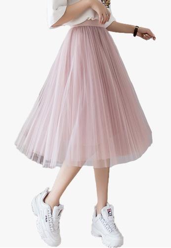 Halo pink Layered Net Yarn Skirt 81BAFAAFE62292GS_1