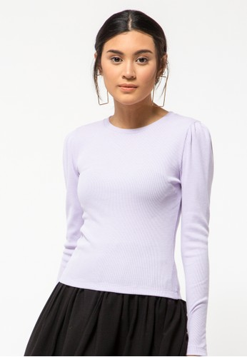 COLORBOX purple Puff Sleeve T-Shirt 4066FAAF6BDCDCGS_1