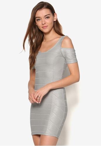 挖肩金屬感連身裙,esprit 內衣 服飾, 服飾