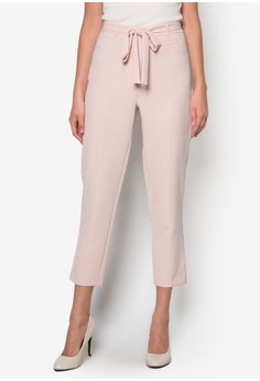 Pale Pink Tapered Crop Trousers