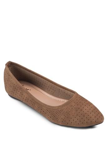 沖孔休閒尖頭平底鞋, 女鞋, 芭蕾esprit outlet 台灣平底鞋