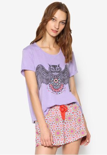 貓頭鷹印esprit 香港花睡衣套裝, 服飾, 服飾