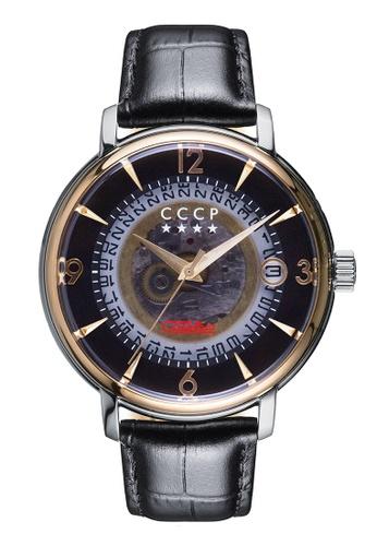 CCCP black CCCP Men's Black Genuine Leather Watch - CP-7036-07 E153CAC368623BGS_1