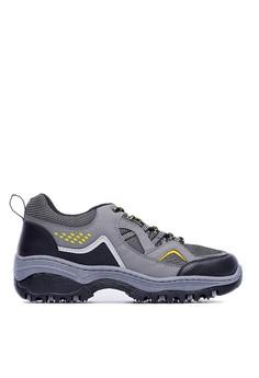 MIT。尼龍網布。雙色織帶閃電郊山休閒鞋-09468-鐵灰