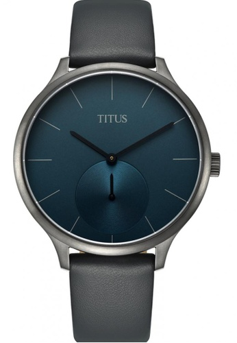 Solvil et Titus grey and blue and silver Unisex Analogue Quartz Watch in Dark Blue Dial and Grey Leather Strap SO598AC0GNPVSG_1