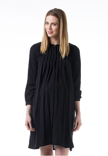 Bove by Spring Maternity black Woven Long Sleeved Coralie Dress Black A2B10AA666B421GS_1