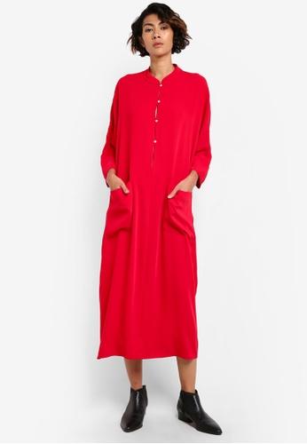 Mango red Flowy Shift Dress MA193AA31BUAMY_1