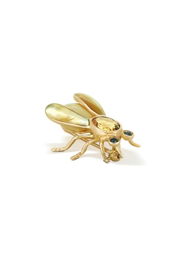 Jemocracy yellow and gold JEMOCRACY - Who's Who: Bee - bee-shaped brooch in 14k gold and natural gem ED727AC84FB5ACGS_1