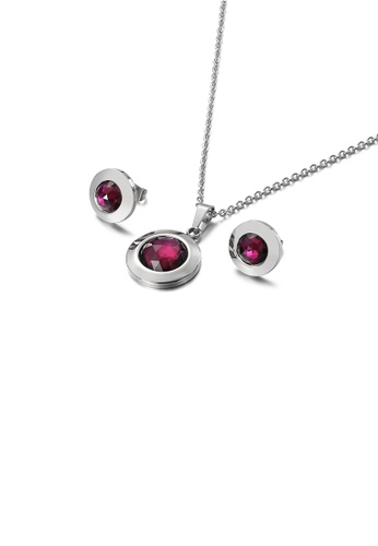 Glamorousky purple Simple Temperament Geometric Round 316L Stainless Steel Necklace and Stud Earrings Set with Purple Cubic Zirconia 8CA1FACFDCAE36GS_1