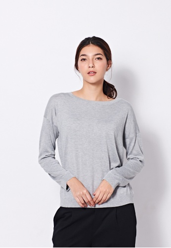 United Colors of Benetton grey Round-neck Knitted Sweater E9A5EAAFDBF526GS_1