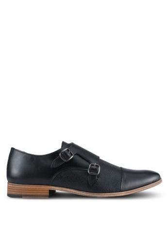 Topman black Black Leather Monk Shoes TO413SH0SJLAMY_1